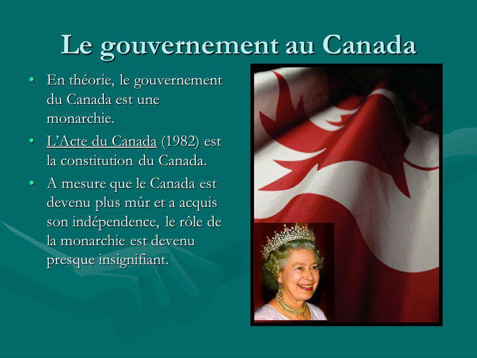 Le gouvernement au Canada