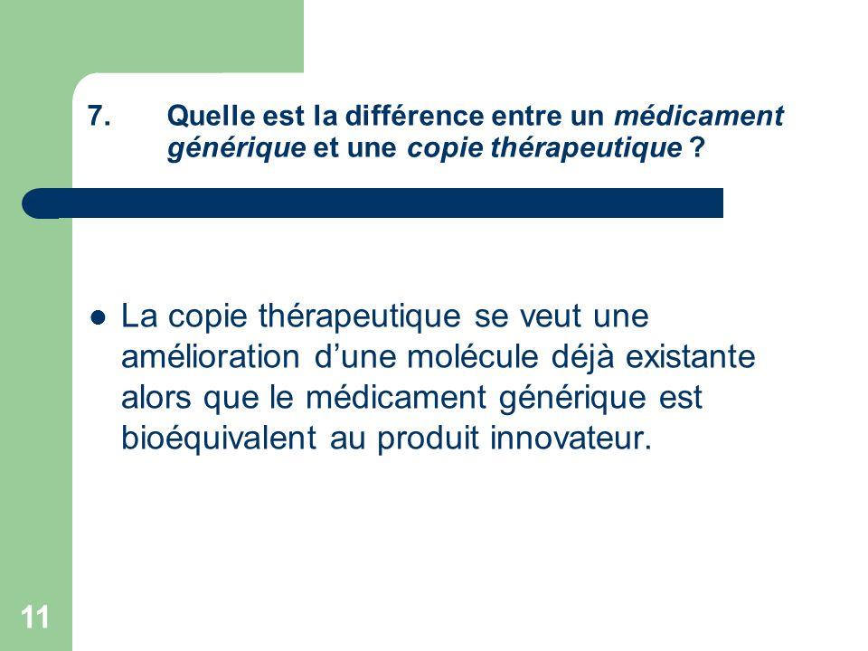 Quelle est la différence entre un médicament générique et une copie thérapeutique