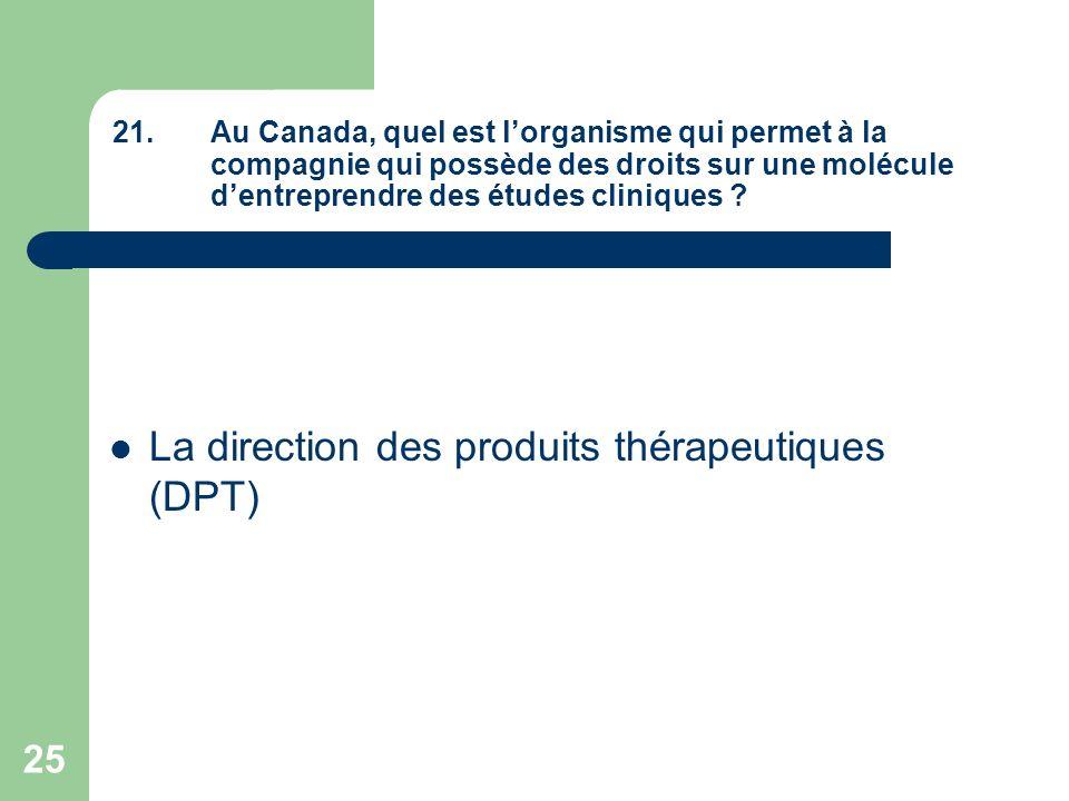 La direction des produits thérapeutiques (DPT)