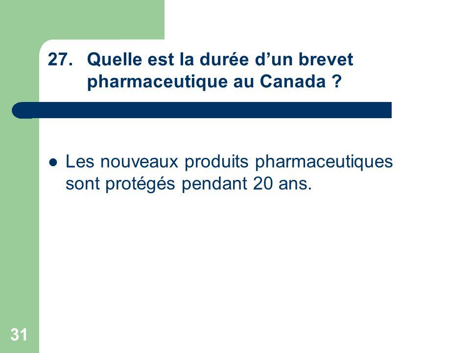 Quelle est la durée d'un brevet pharmaceutique au Canada
