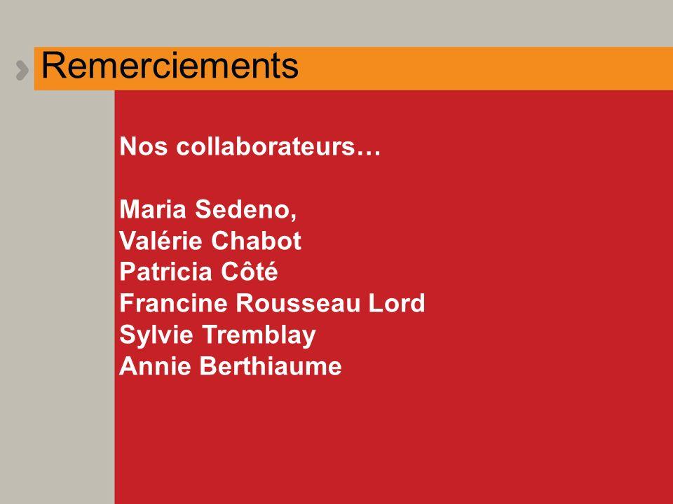 Remerciements Nos collaborateurs… Maria Sedeno, Valérie Chabot