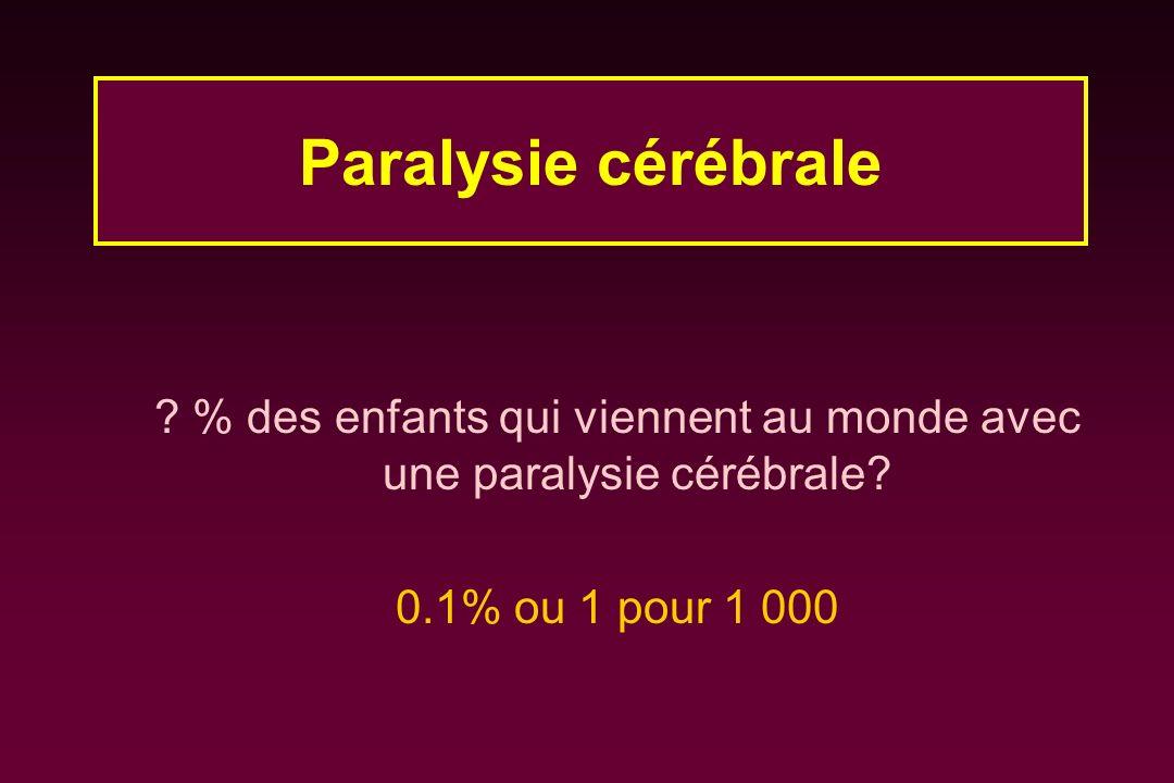 % des enfants qui viennent au monde avec une paralysie cérébrale