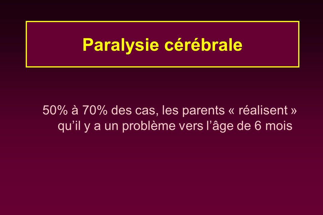 Paralysie cérébrale 50% à 70% des cas, les parents « réalisent » qu'il y a un problème vers l'âge de 6 mois.