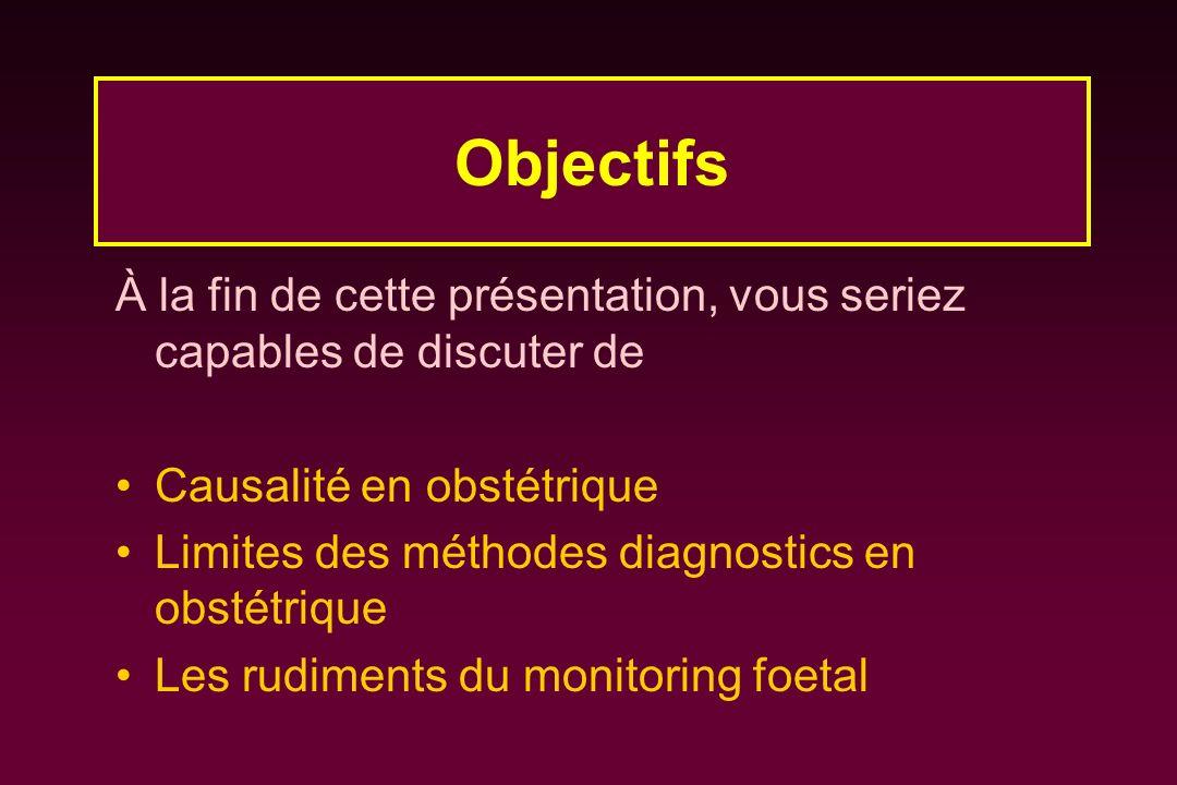 Objectifs À la fin de cette présentation, vous seriez capables de discuter de. Causalité en obstétrique.