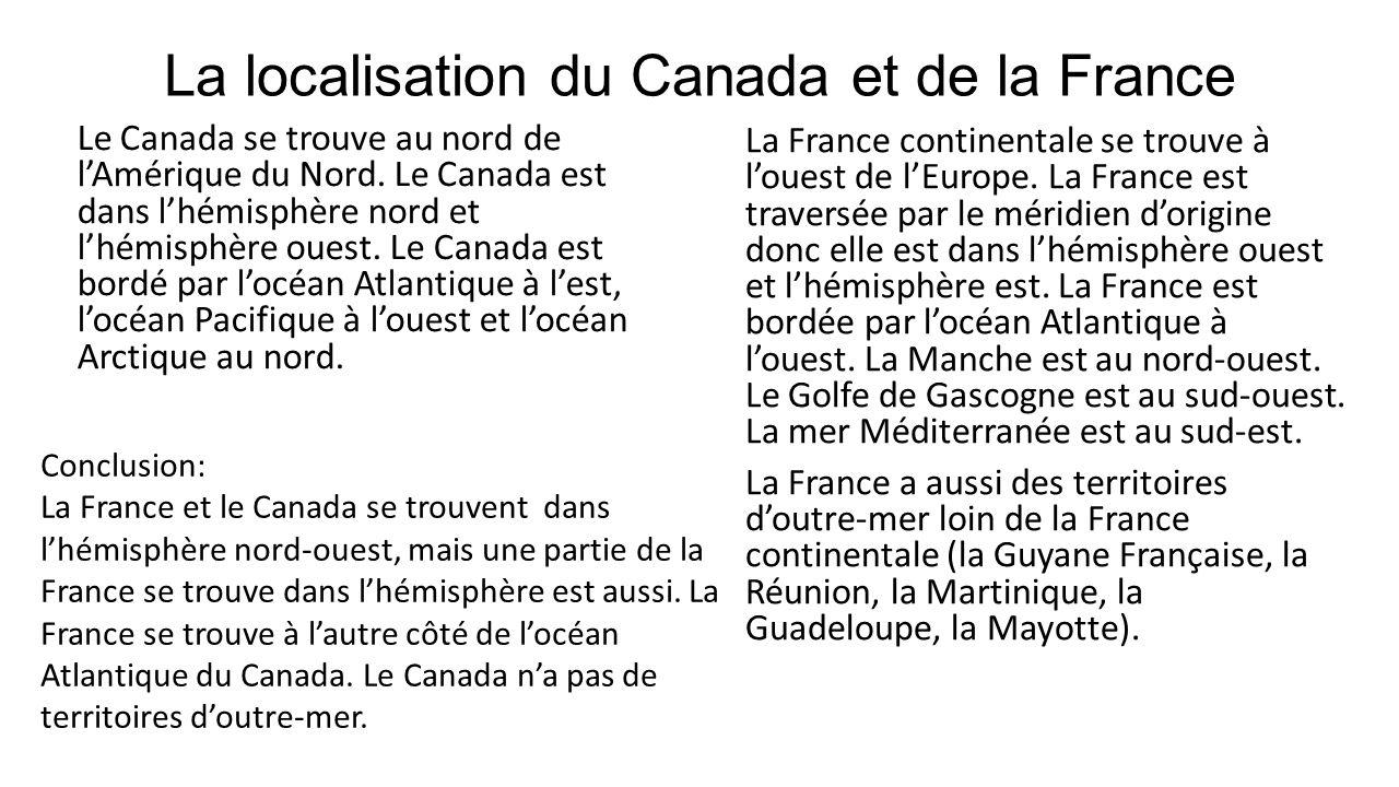 La localisation du Canada et de la France