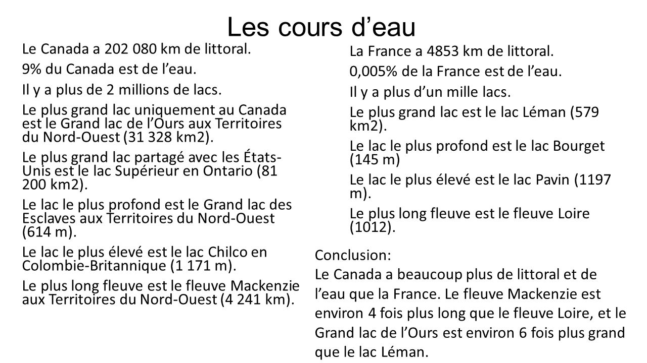 Les cours d'eau Le Canada a 202 080 km de littoral.