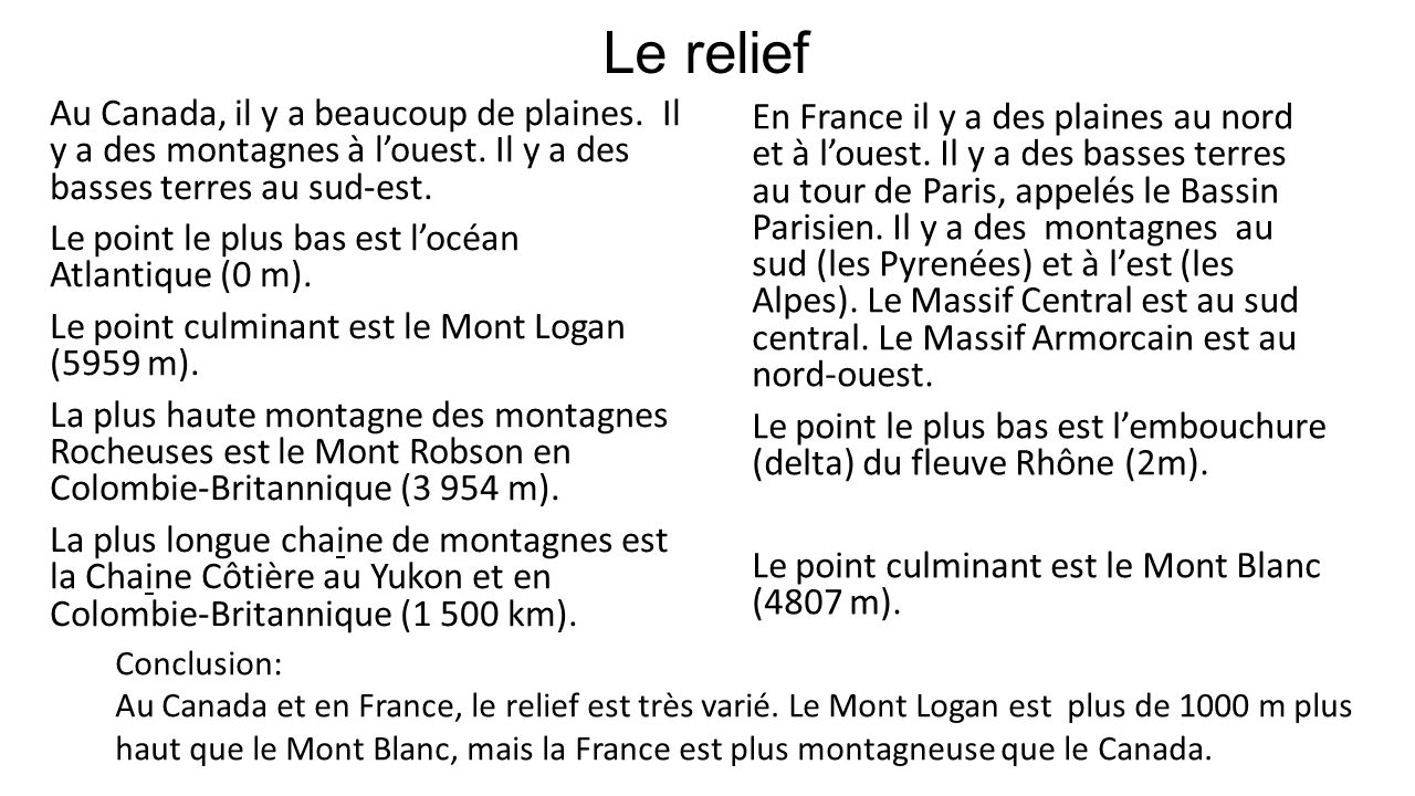Le relief