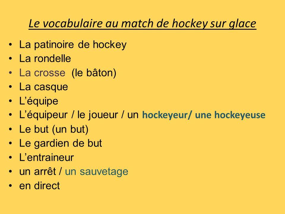 Le vocabulaire au match de hockey sur glace