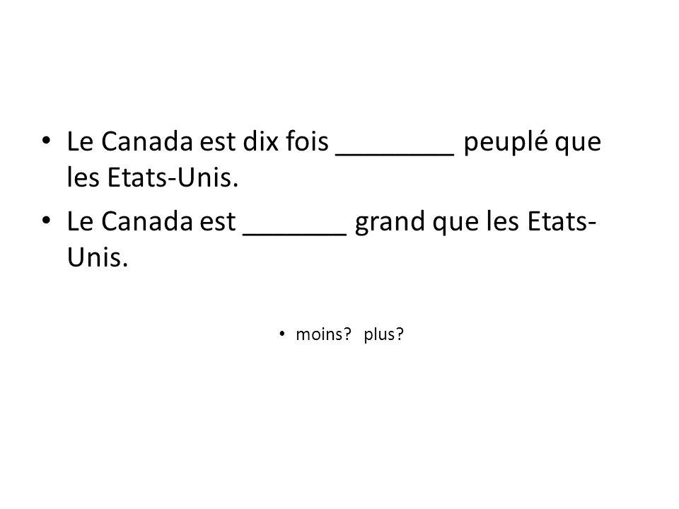 Le Canada est dix fois ________ peuplé que les Etats-Unis.