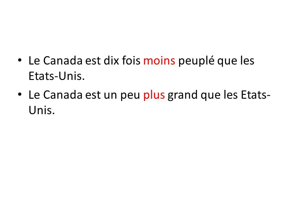 Le Canada est dix fois moins peuplé que les Etats-Unis.
