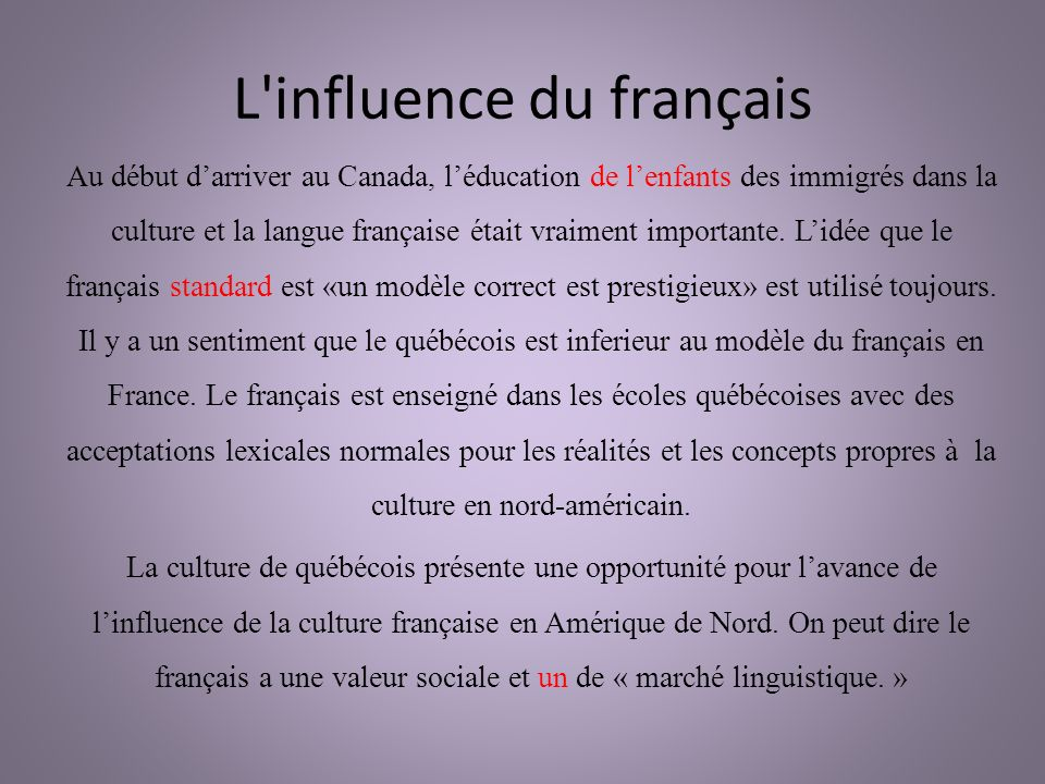 L influence du français