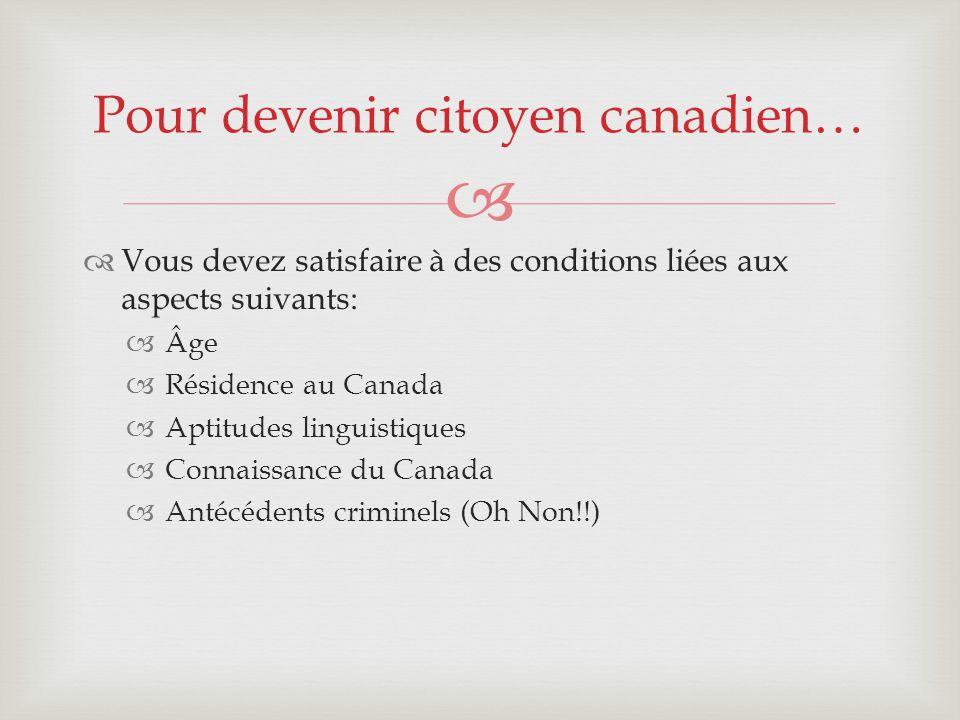 Pour devenir citoyen canadien…