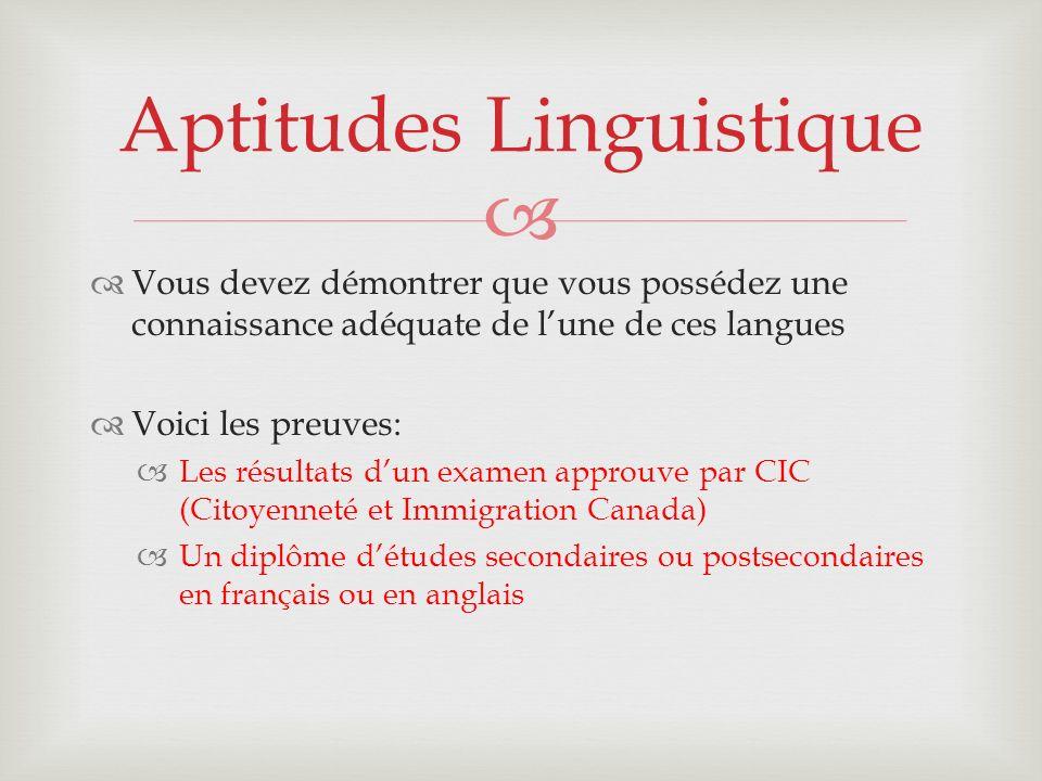 Aptitudes Linguistique