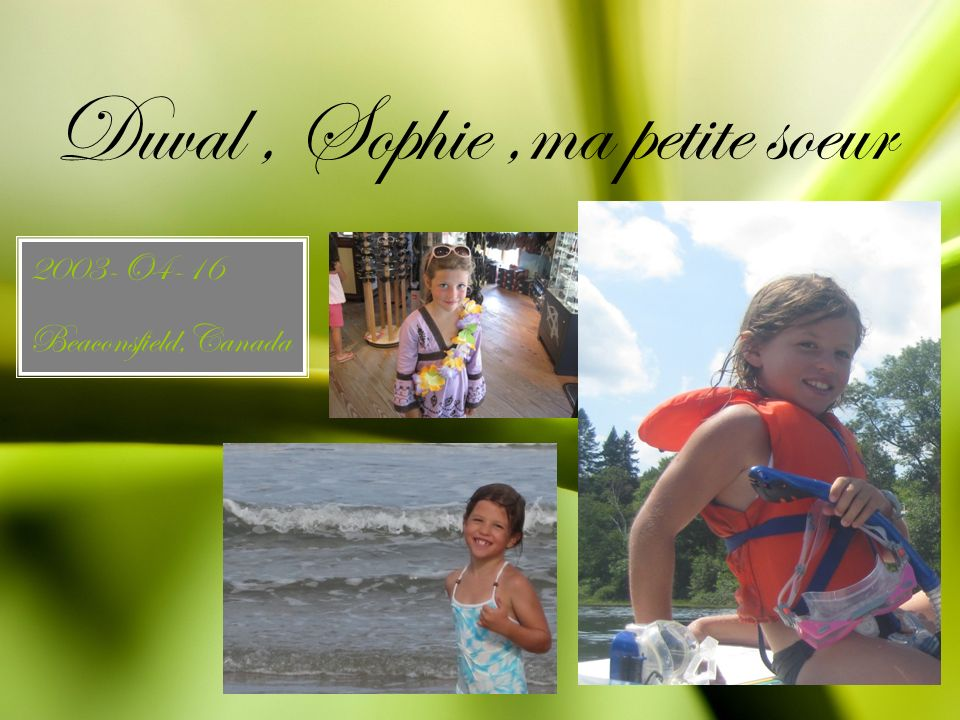 Duval , Sophie ,ma petite soeur