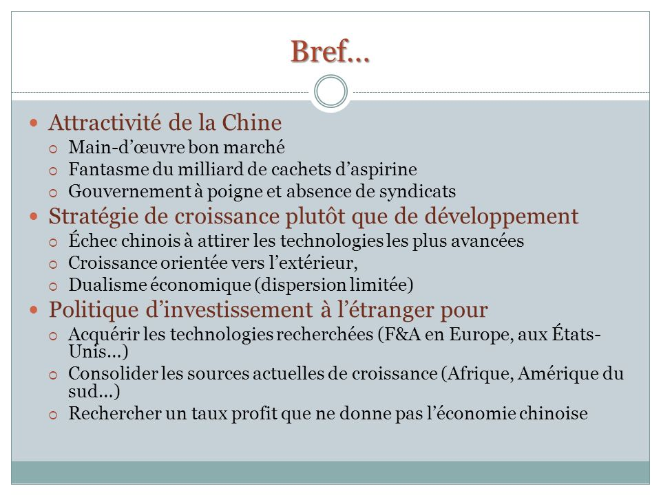 Bref… Attractivité de la Chine