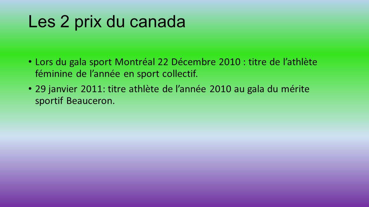 Les 2 prix du canada Lors du gala sport Montréal 22 Décembre 2010 : titre de l'athlète féminine de l'année en sport collectif.