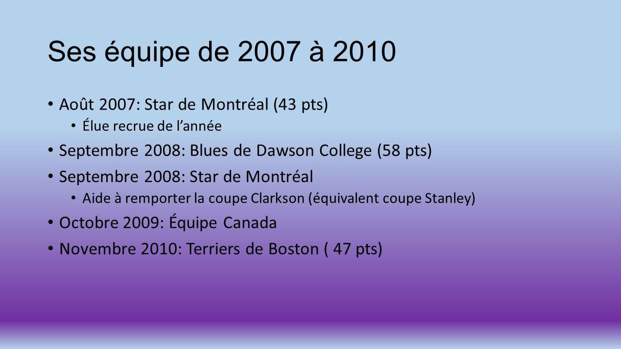 Ses équipe de 2007 à 2010 Août 2007: Star de Montréal (43 pts)