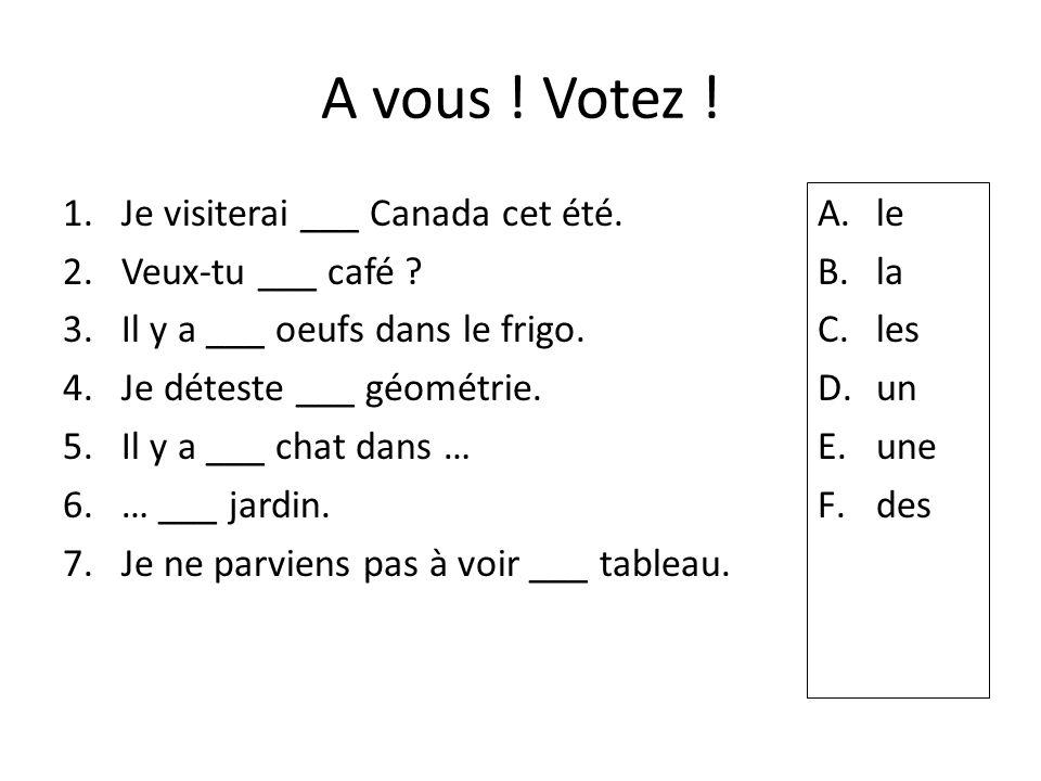 A vous ! Votez ! Je visiterai ___ Canada cet été. Veux-tu ___ café