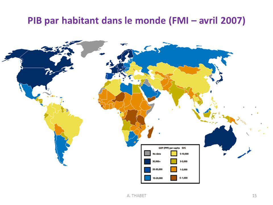 PIB par habitant dans le monde (FMI – avril 2007)
