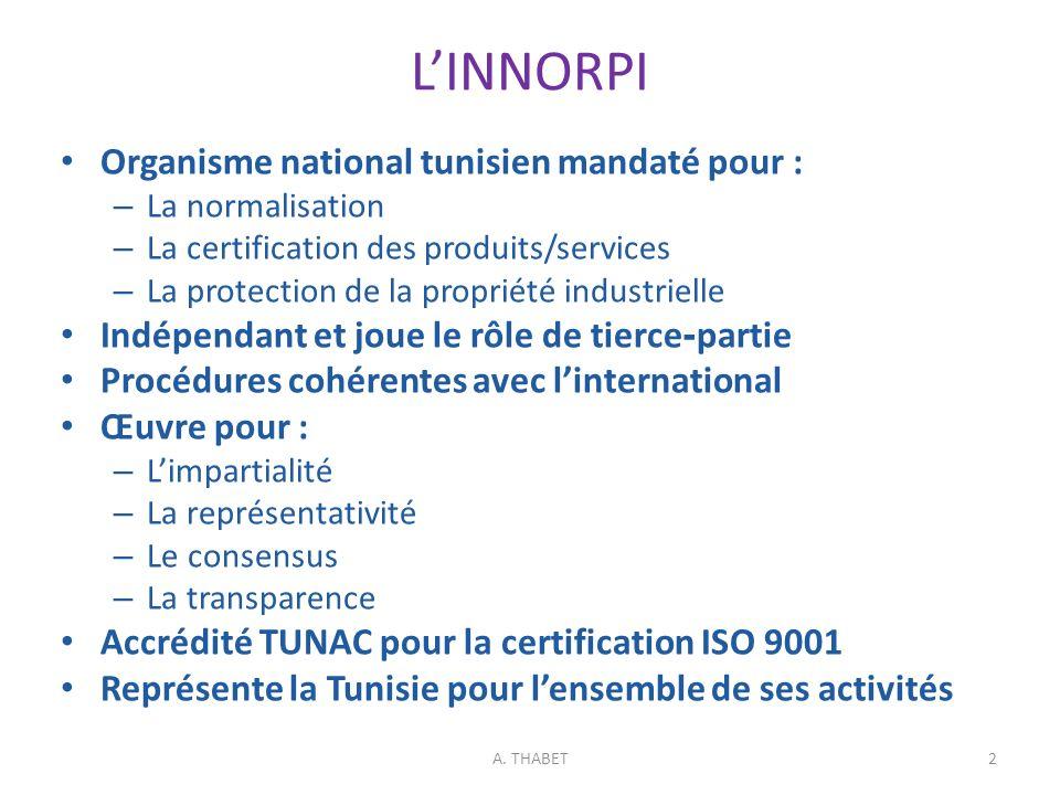 L'INNORPI Organisme national tunisien mandaté pour :