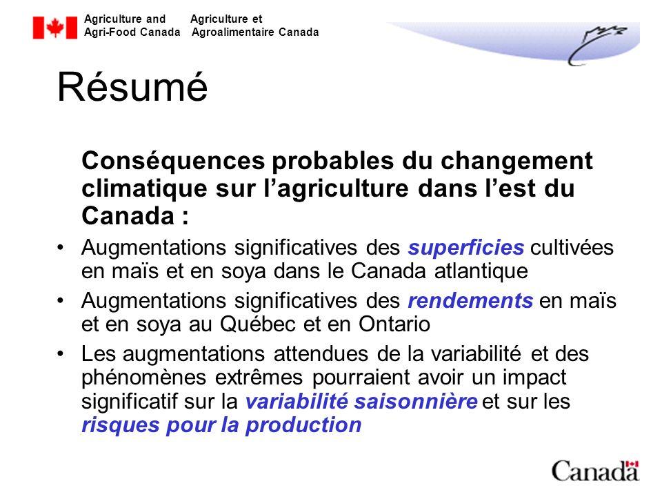 Résumé Conséquences probables du changement climatique sur l'agriculture dans l'est du Canada :