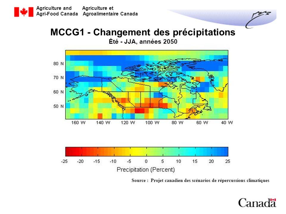 MCCG1 - Changement des précipitations Été - JJA, années 2050