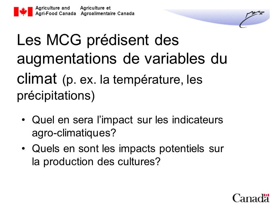 Les MCG prédisent des augmentations de variables du climat (p. ex