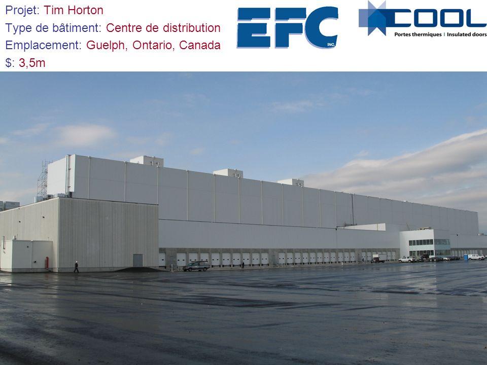 Projet: Tim Horton Type de bâtiment: Centre de distribution. Emplacement: Guelph, Ontario, Canada.