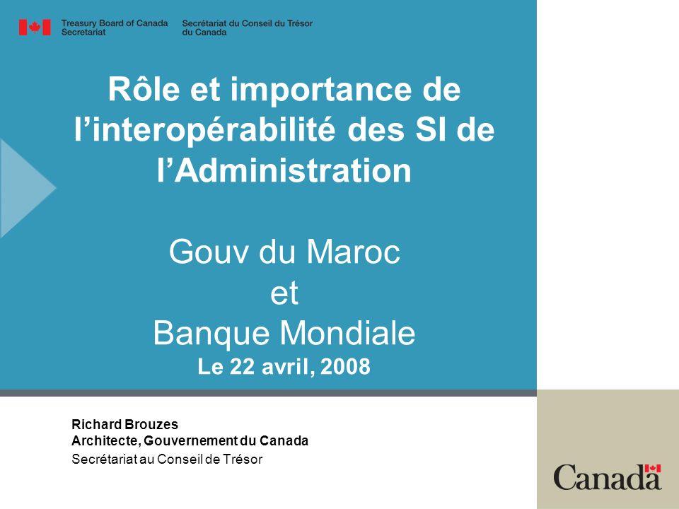 Rôle et importance de l'interopérabilité des SI de l'Administration Gouv du Maroc et Banque Mondiale Le 22 avril, 2008