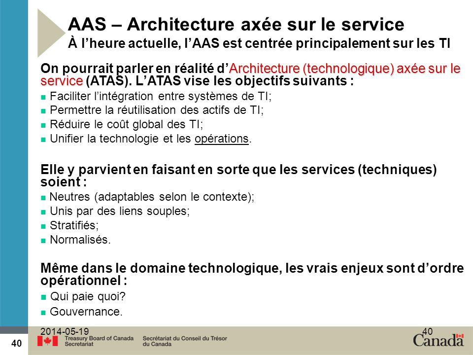 AAS – Architecture axée sur le service À l'heure actuelle, l'AAS est centrée principalement sur les TI