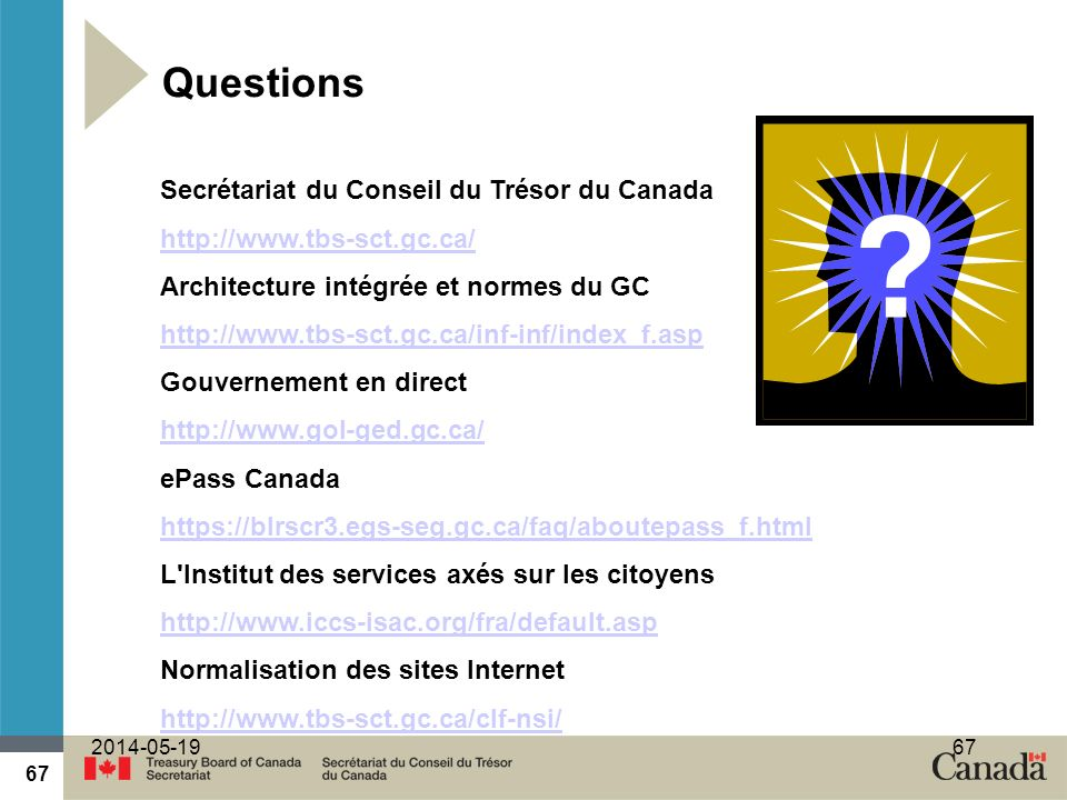 Questions Secrétariat du Conseil du Trésor du Canada