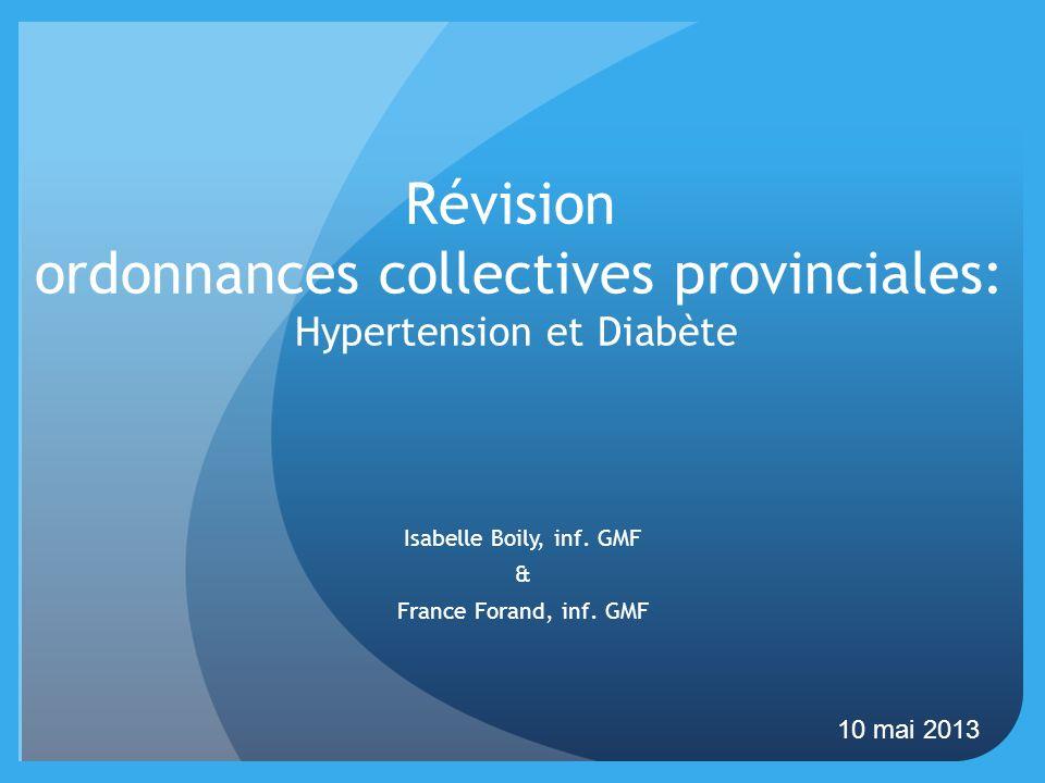 Révision ordonnances collectives provinciales: Hypertension et Diabète