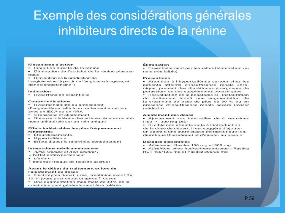 Exemple des considérations générales inhibiteurs directs de la rénine