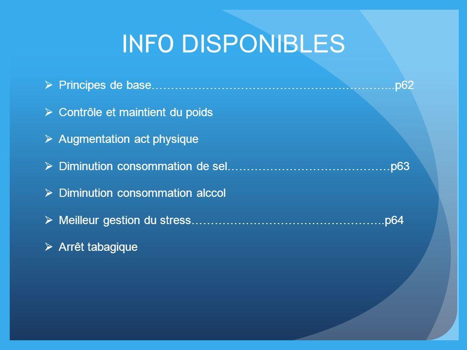INFO DISPONIBLES Principes de base……………………………………………………...p62