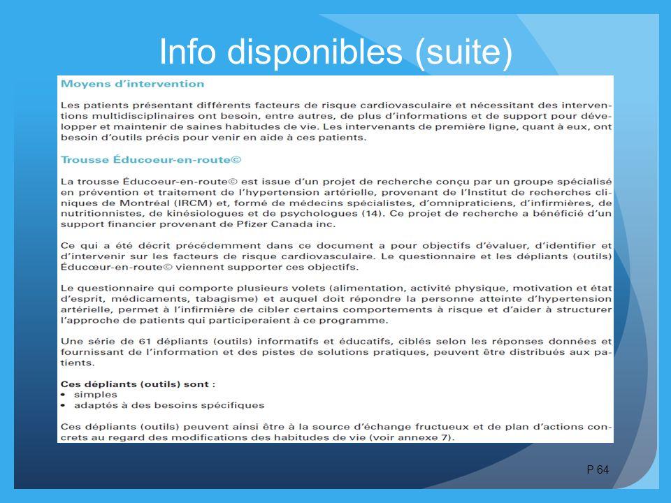 Info disponibles (suite)