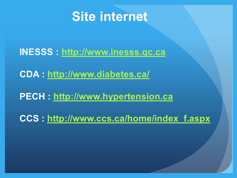 Site internet INESSS : http://www.inesss.qc.ca