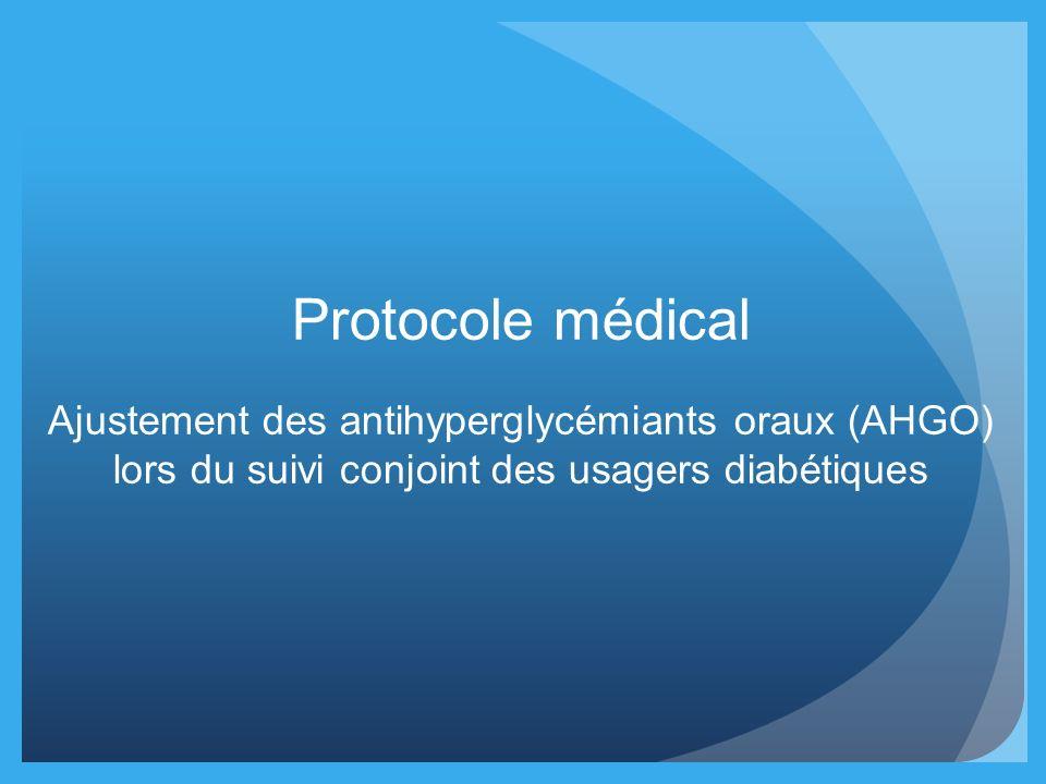 Protocole médical Ajustement des antihyperglycémiants oraux (AHGO)