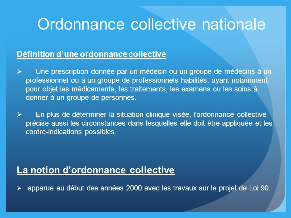 Ordonnance collective nationale