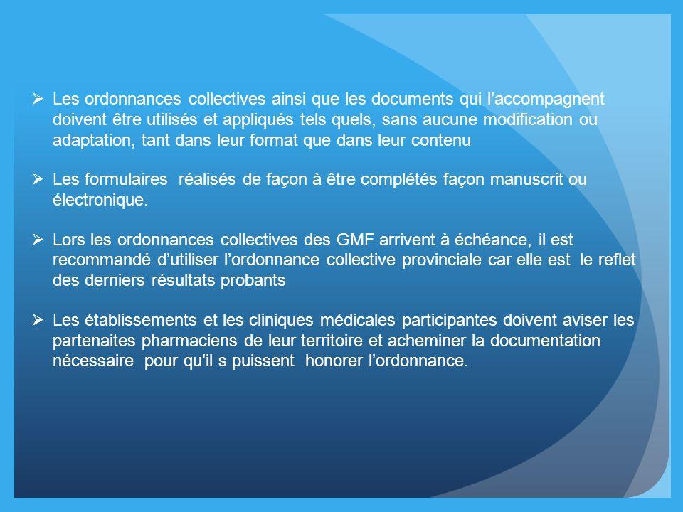Les ordonnances collectives ainsi que les documents qui l'accompagnent doivent être utilisés et appliqués tels quels, sans aucune modification ou adaptation, tant dans leur format que dans leur contenu