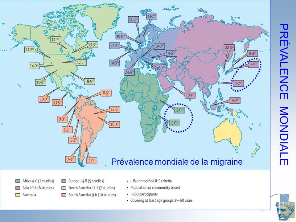 PRÉVALENCE MONDIALE Prévalence mondiale de la migraine