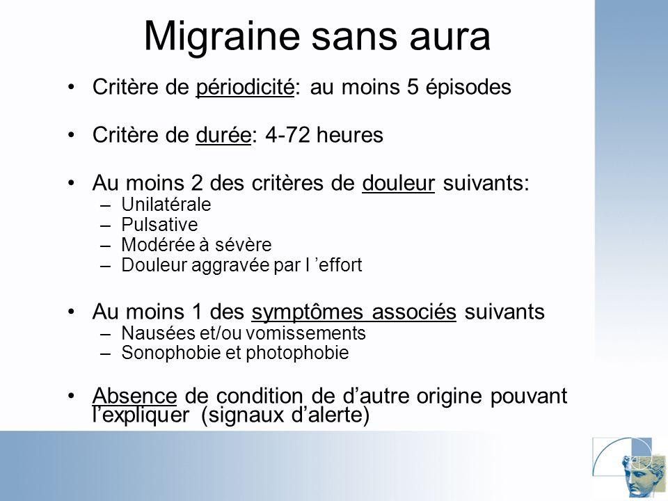 Migraine sans aura Critère de périodicité: au moins 5 épisodes