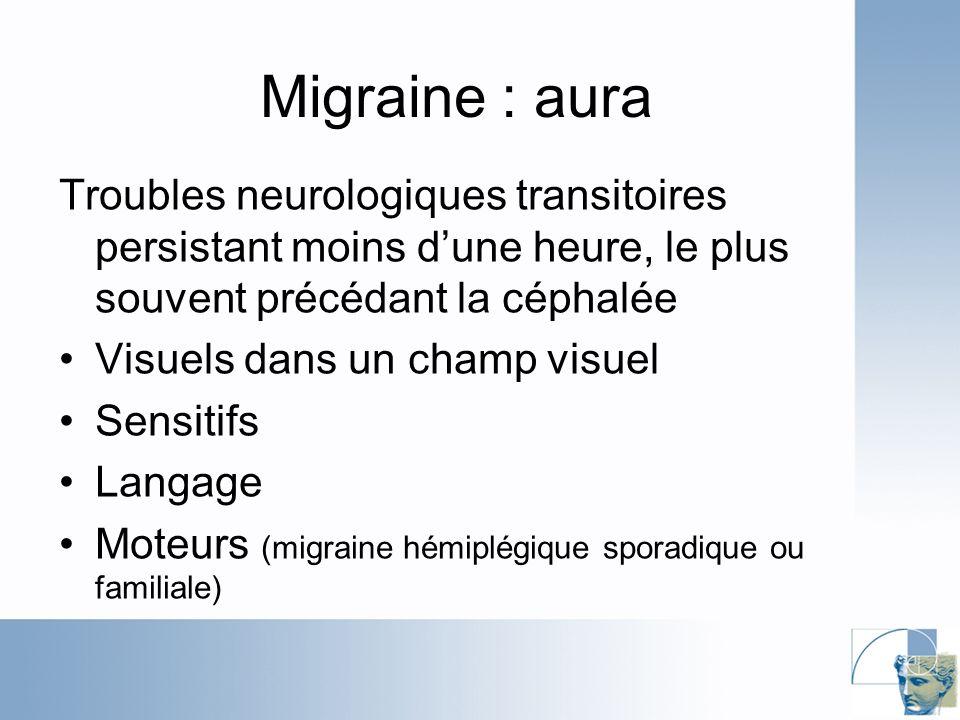 Migraine : aura Troubles neurologiques transitoires persistant moins d'une heure, le plus souvent précédant la céphalée.