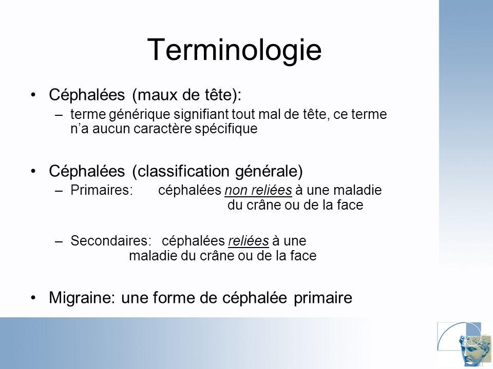 Terminologie Céphalées (maux de tête):