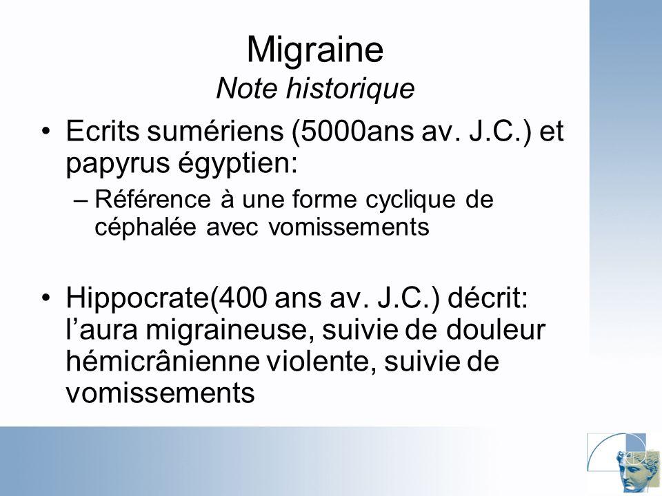 Migraine Note historique