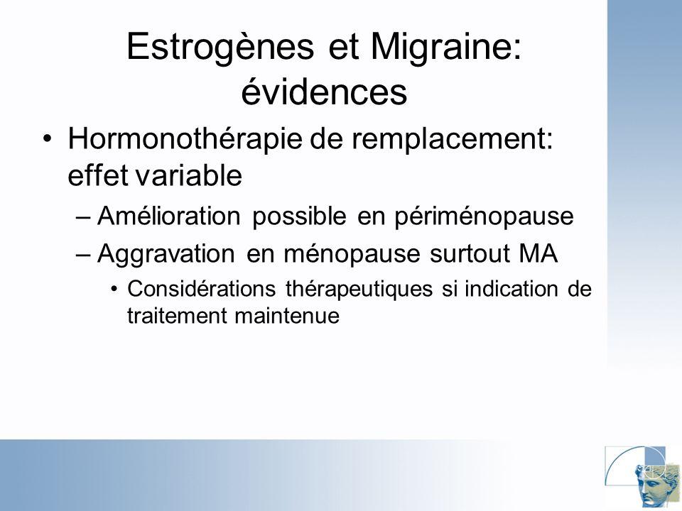 Estrogènes et Migraine: évidences