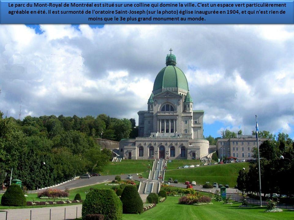 Le parc du Mont-Royal de Montréal est situé sur une colline qui domine la ville.