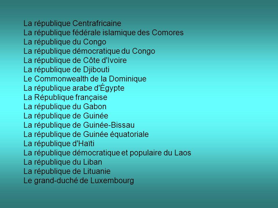 La république Centrafricaine La république fédérale islamique des Comores La république du Congo