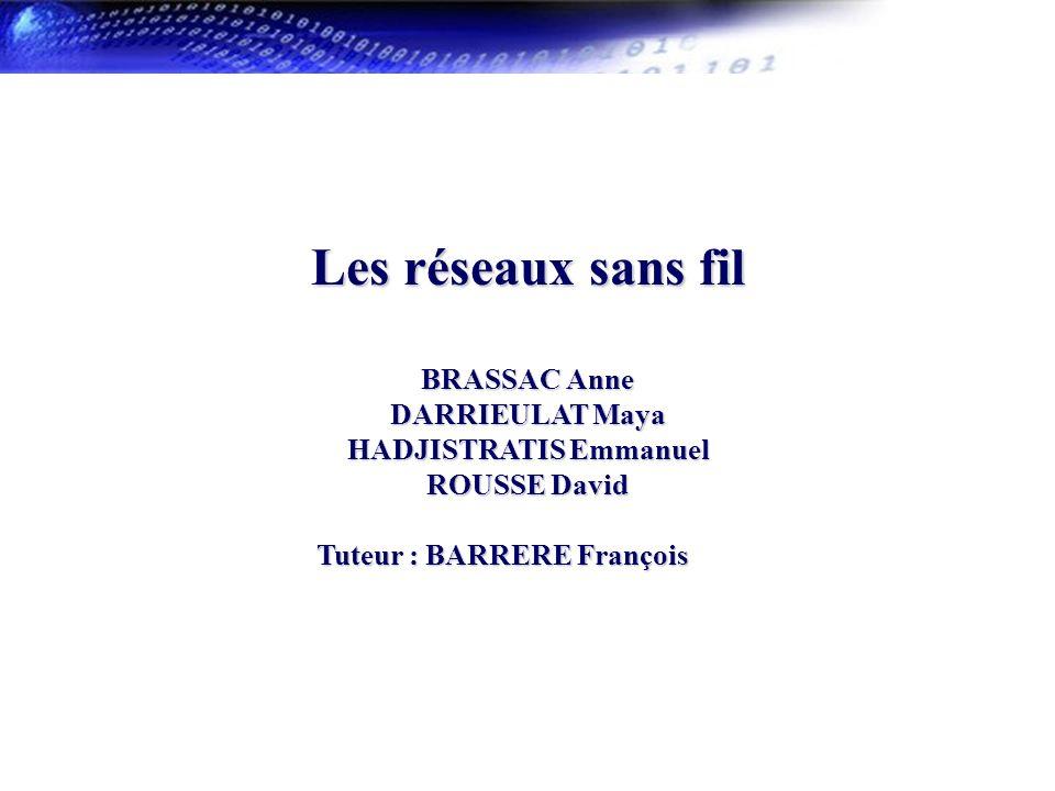 Les réseaux sans fil BRASSAC Anne DARRIEULAT Maya HADJISTRATIS Emmanuel ROUSSE David. Tuteur : BARRERE François.