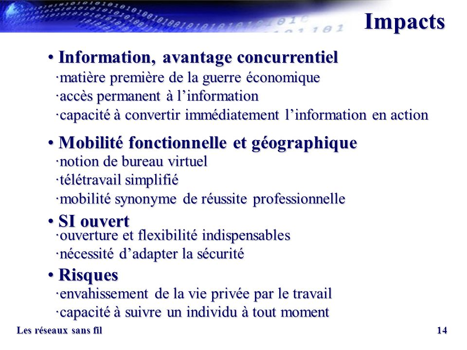 Impacts Information, avantage concurrentiel