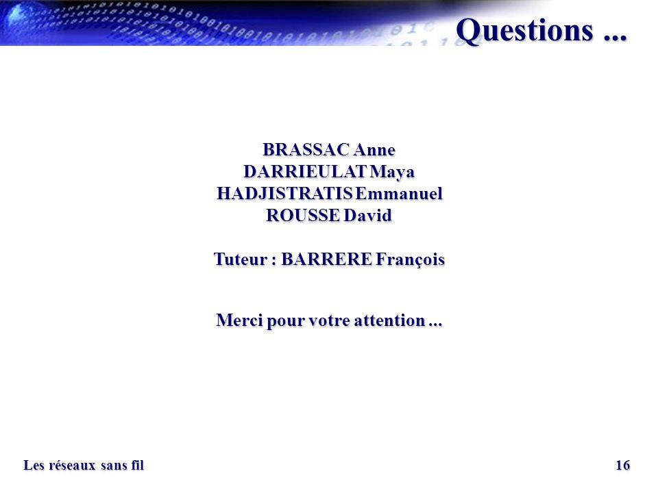 Questions ... BRASSAC Anne DARRIEULAT Maya HADJISTRATIS Emmanuel ROUSSE David. Tuteur : BARRERE François.